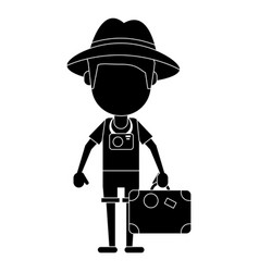 Tourist man photographic camera and suitcase vector