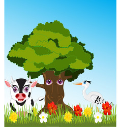 Tree and animals on glade vector