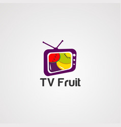tv fruit logo icon element and template vector image