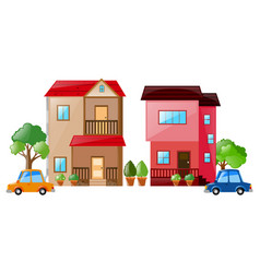 Two houses and cars next to each other vector