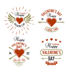 valentines day four typographic labels vector image