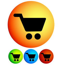 vivid shopping cart trolley cart icons vector image