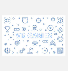 Vr games outline horizontal vector