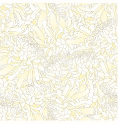 White chrysanthemum flower seamless background vector