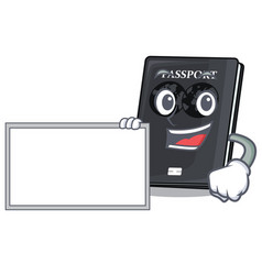 With board black passport in a cartoon bag vector