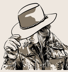 woman with a cowboy hat hand drawn vector image