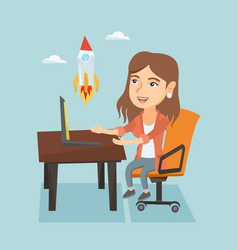 Young business woman working on business start up vector