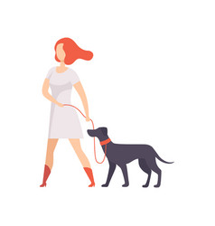 Young woman keeping her purebred dog on the leash vector