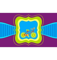 bicycle on a label template background vector image vector image