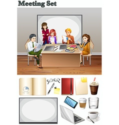 Business meeting with people in the room vector image vector image