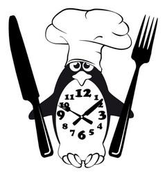 cook menu penguin glutton mode vector image