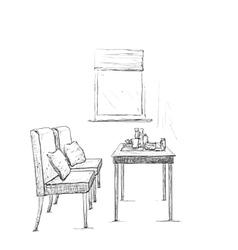 Modern interior hand drawing vector image
