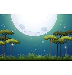 Nature scene on fullmoon night vector image vector image