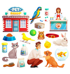Pet shop decorative icons set vector