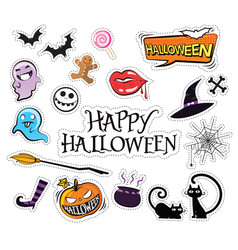 set of cartoon graphic design halloween icons vector image vector image
