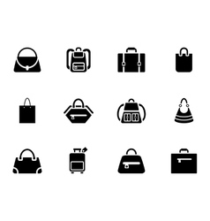 Assortment of Black Baggage Icons vector image