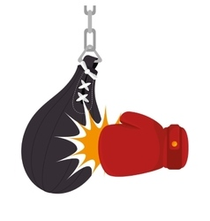 boxing gloves equipment with punch bag icon vector image vector image