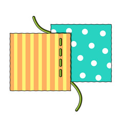 different fabrics are sewn with threadsewing or vector image
