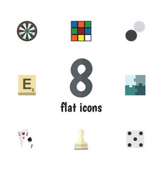 Flat icon play set of jigsaw chequer ace and vector