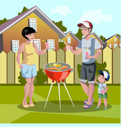 Happy family barbecue vector