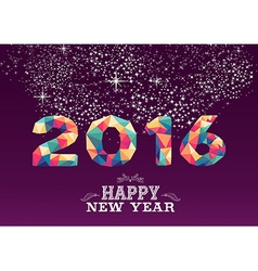 Happy new year 2016 color triangle vintage card vector image