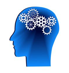 human head with gears head thinkingidea concept vector image vector image