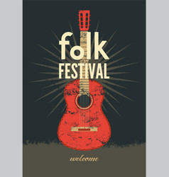 music poster folk ornament guitar concept vector image vector image