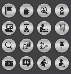 set of 16 editable bureau icons includes symbols vector image vector image