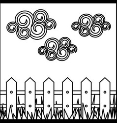 silhouette landscape with wood grate and grass vector image