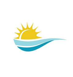 Sun with sea surface logo template vector image vector image