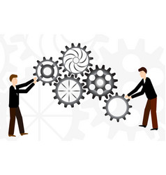 Business teamwork with mechanism system vector