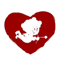 Cupid in heart Logo for Valentines day vector image