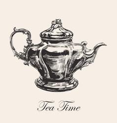 hand drawn sketch teapot vector image vector image