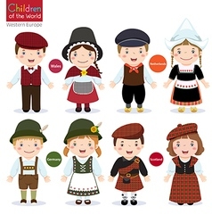 Kids in different traditional costumes Wales vector image