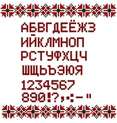 Russian alphabet on white and red national ethnic vector image