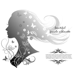 silhouette of a beautiful woman with long hair vector image vector image