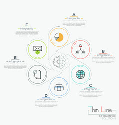 six round elements with icons vector image vector image