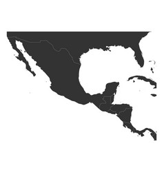 Blank political map of central america and mexico vector