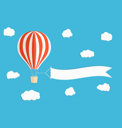 flying advertising banner hot air balloon with vector image