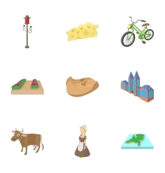 Holland icons set cartoon style vector image vector image