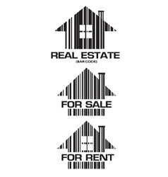 Real Estate barcode houses vector image vector image