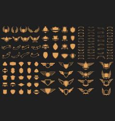 set of empty emblems ribbons winged emblems vector image