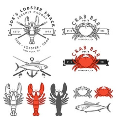 Set of retro seafood design elements vector image vector image