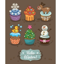 Set of winter cupcakes with different toppings vector image