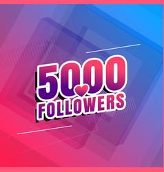 5000 followers social media background design vector