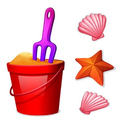 A pail sand and seashells vector