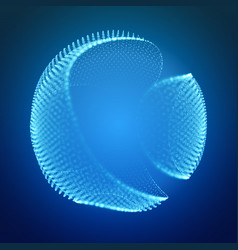 abstract mesh cliced sphere on dark blue vector image