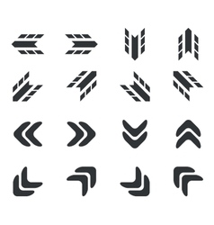 Arrow icon set 2 simple vector