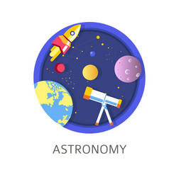 Astronomy subject in school discipline with vector