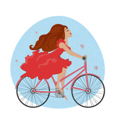 Beautiful young girl in red dress rides bicycle vector